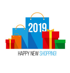 new year shopping set of flat bags vector image