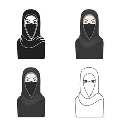 niqab icon in cartoon style isolated on white vector image
