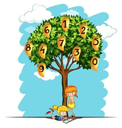 Numbers on mango tree vector