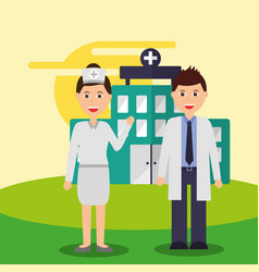 nurse and doctor staff medical team hospital vector image