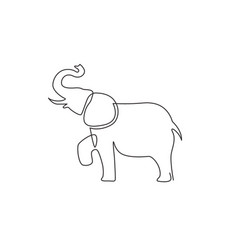 one continuous line drawing big cute elephant vector image