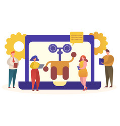 Online chat bot helper support concept vector