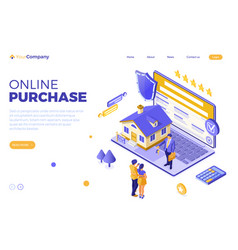 Online sale rent mortgage house isometric vector
