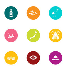 Oriental spot icons set flat style vector