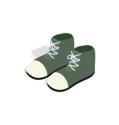 Pair of green boots icon isometric 3d style vector