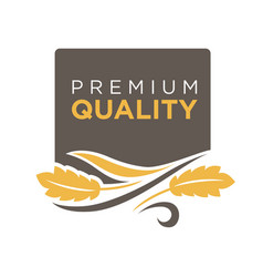 Premium quality grain logo with ears of wheat vector
