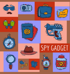 private detective spy work gadgets magnifier vector image