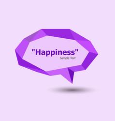 Purple polygonal geometric speech bubble vector