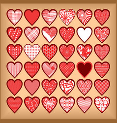 Red hearts on a beige background vector