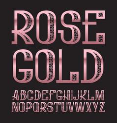 rose gold typeface golden pink patterned font vector image