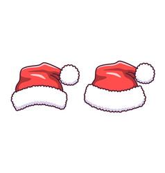 santa claus hat in flat style cartoon vector image