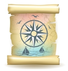 Scroll with vintage compass design and boats vector image