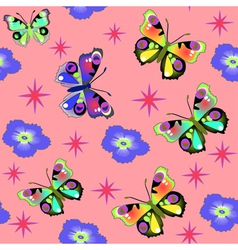 seamless background with pink butterfly vector image