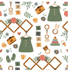 Seamless pattern with cute baby girl elements vector