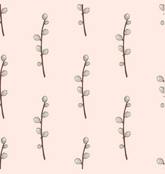 Seamless pattern with hand drawn willow branches vector
