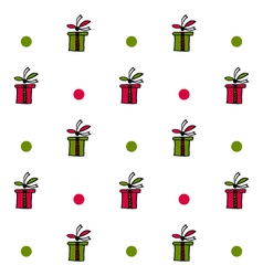 Seamless pattern with present boxes and circles vector image