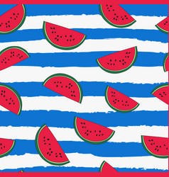 Seamless repeat pattern with watermelon toss vector