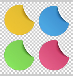 Set color round paper stickers with edge curl vector