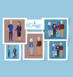 Set five designs grandparents and family vector