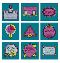 Set of typography vintage label in spring flower vector