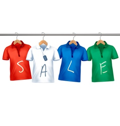 Shirts with price tags hanging on hangers Concept vector image