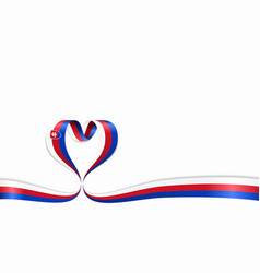 slovak flag heart-shaped ribbon vector image