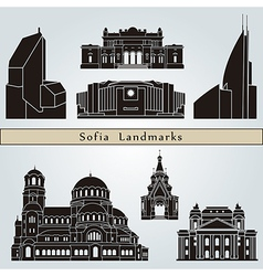 Sofia landmarks and monuments vector