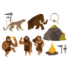 stone age set with various vector image