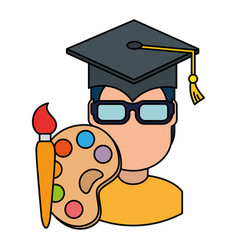 Student graduated with paint brush and pallette vector