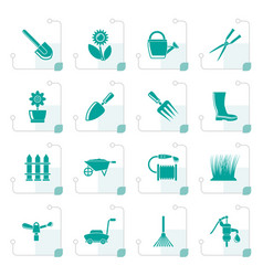 stylized garden and gardening tools and objects vector image