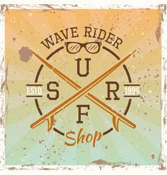 surfing colored vintage round emblem vector image