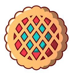 sweet cookie icon cartoon style vector image