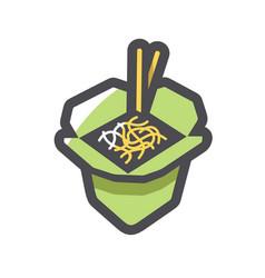 takeaway noodles box icon cartoon vector image
