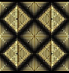 Textured gold 3d waffle seamless pattern vector