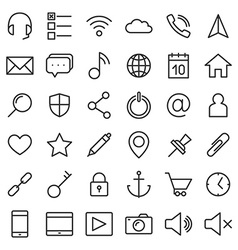 Thin lines web icons set for mobile apps and vector image