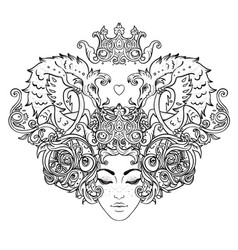 tribal fusion boho diva beautiful girl with vector image