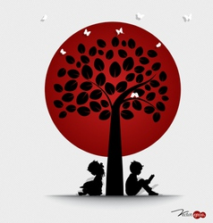 Valentine background with children read a book vector image
