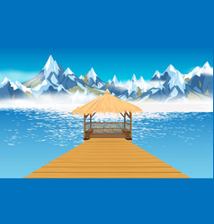 view pavilion on river in winter vector image