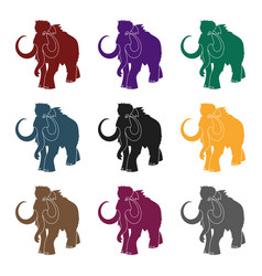 woolly mammoth icon in black style isolated on vector image