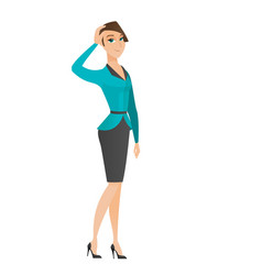 Young caucasian business woman scratching her head vector