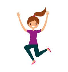 young woman jumping character vector image