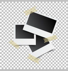 Blank retro photo frames with sticker on white vector