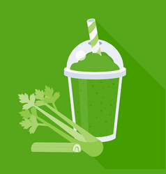 celery smoothie or juice in plastic glass vector image vector image