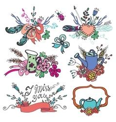 Doodle vintage floral grouphand sketched element vector image