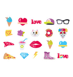 Icons set stickers snack accessory items vector