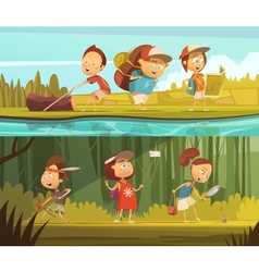 Kids Camping Banners Set vector image vector image