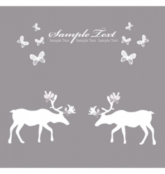 reindeer card with butterfly vector image vector image