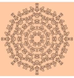 Round brown ornate pattern on beige background vector image