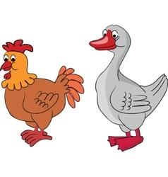 Cartoon goose and chicken vector image