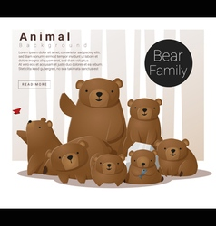 Cute animal family background with Bears vector image